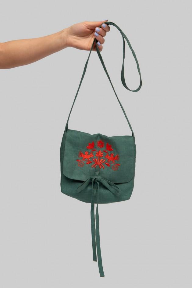 Вишита сумка пряма з клапаном Green