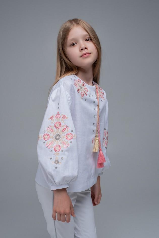 Вишита блуза для дівчинки White1