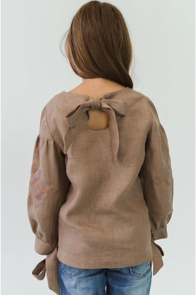 Вишита блуза для дівчинки з бантами Сoffee