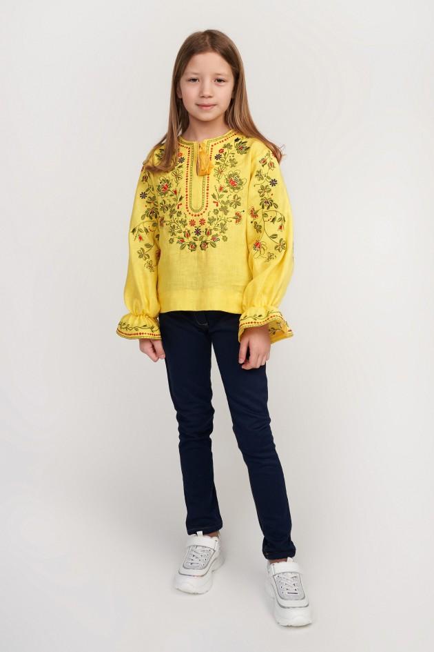 Вишита блуза для дівчинки Yellow