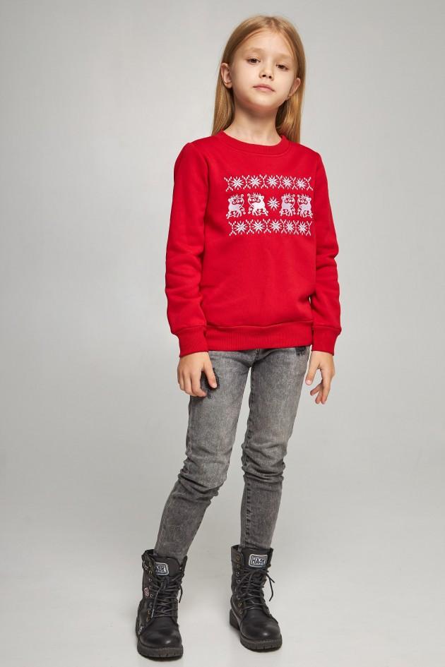 Новорічні дитячі светри для двох з оленями червоні