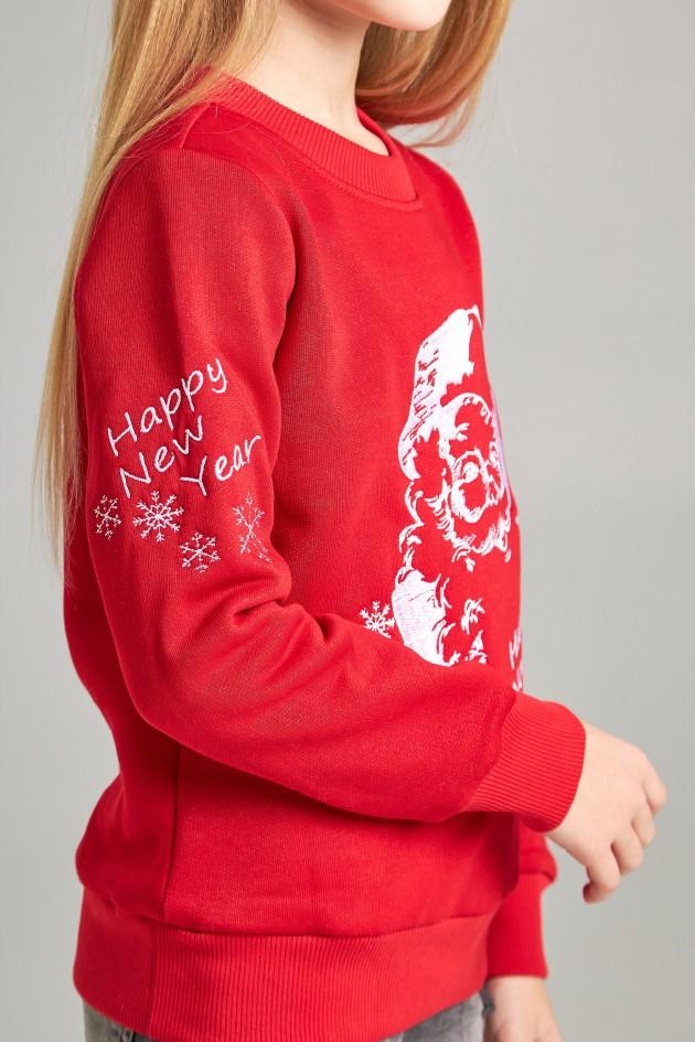 Різдвяний світшот для дівчинки Дід Мороз червоний