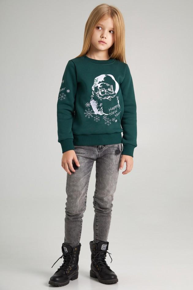 Різдвяний світшот для дівчинки Дід Мороз зелений