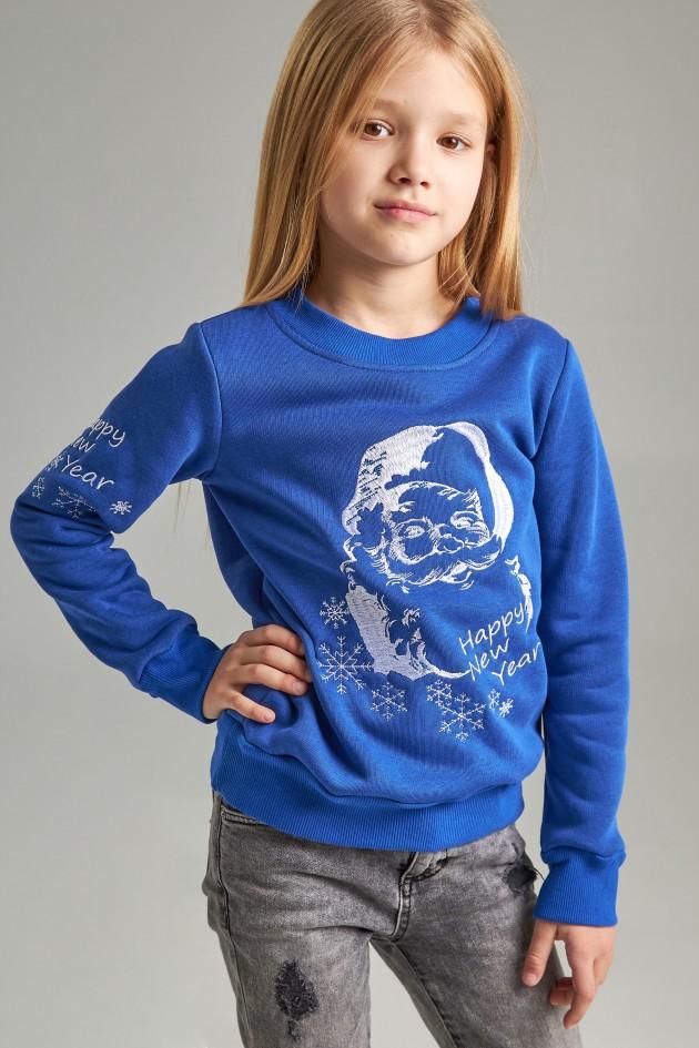 Різдвяний світшот для дівчинки Дід Мороз синій