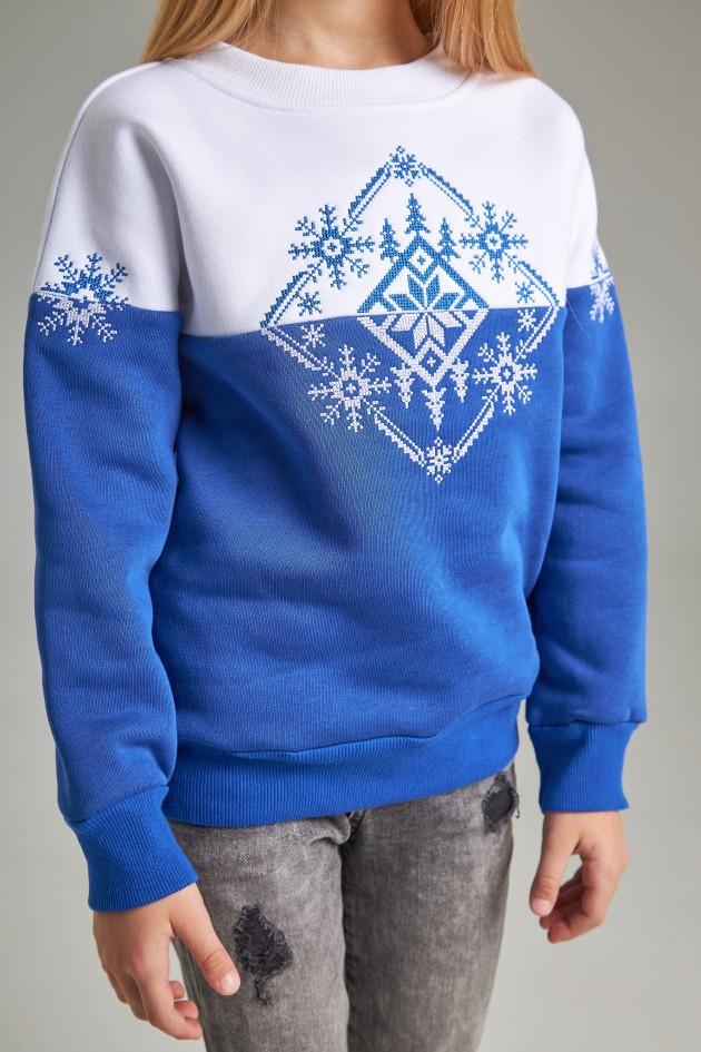 Різдвяний світшот для дівчинки Сніжинка, синій