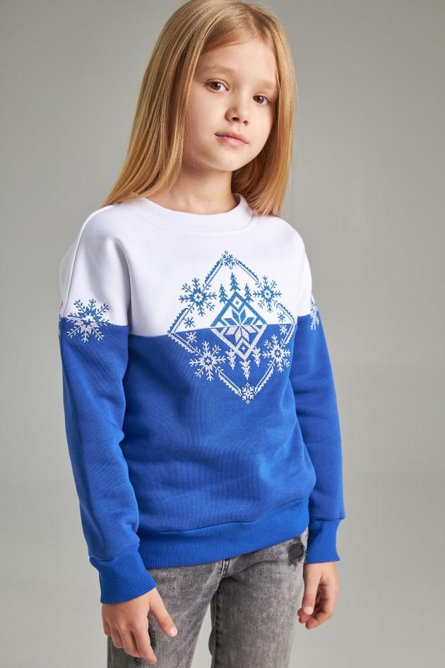 Різдвяний світшот для дівчинки Сніжинка Blue
