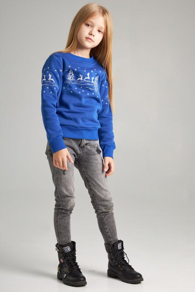 Новорічні дитячі светри для двох з оленями сині