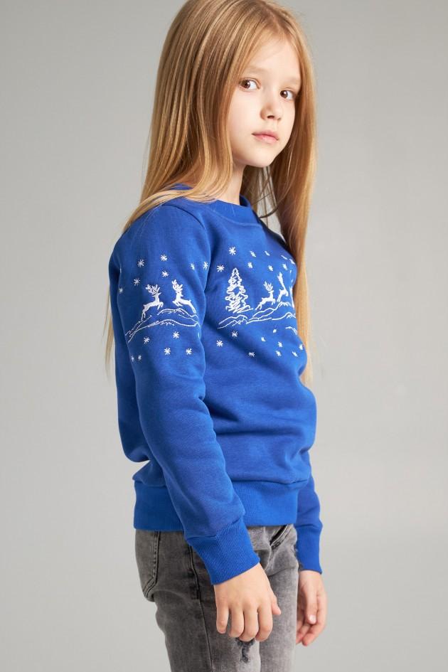 Різдвяний світшот для дівчинки Олені, електрик