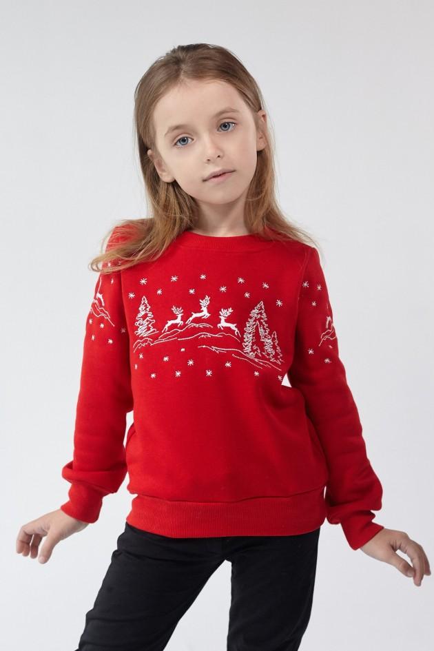 Різдвяний світшот для дівчинки Олені Red