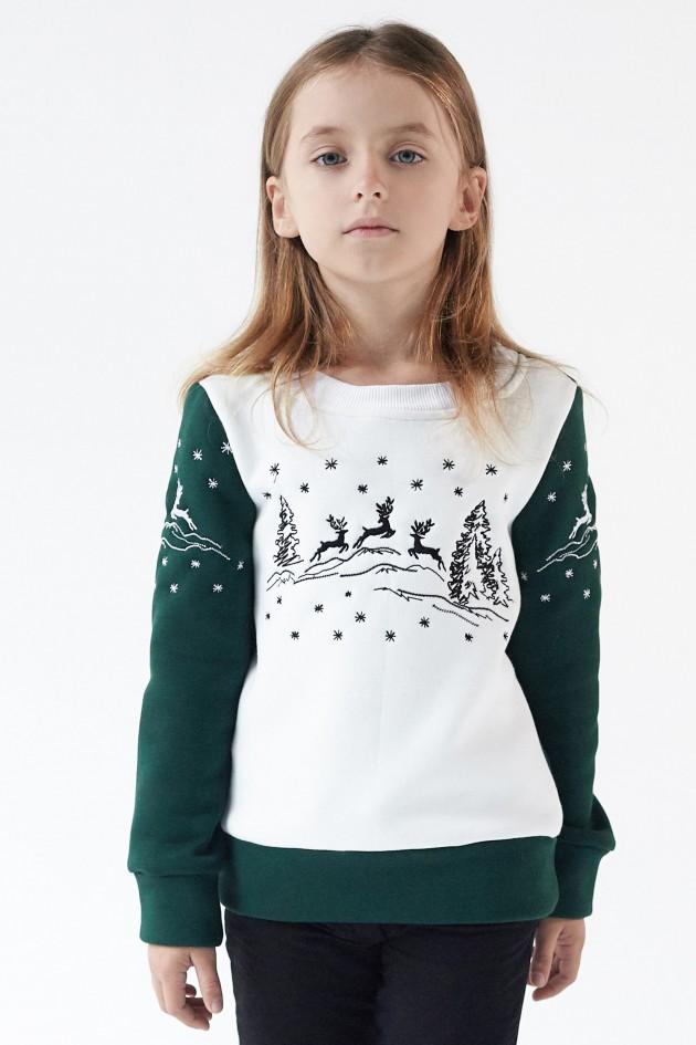 Різдвяний світшот для дівчинки Олені Green