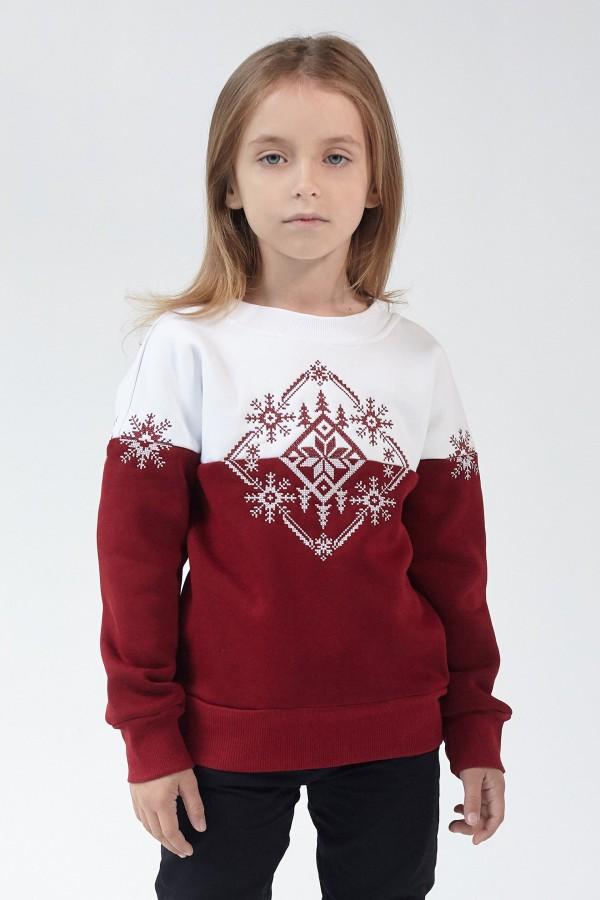 Різдвяний світшот для дівчинки Сніжинка Burgundy