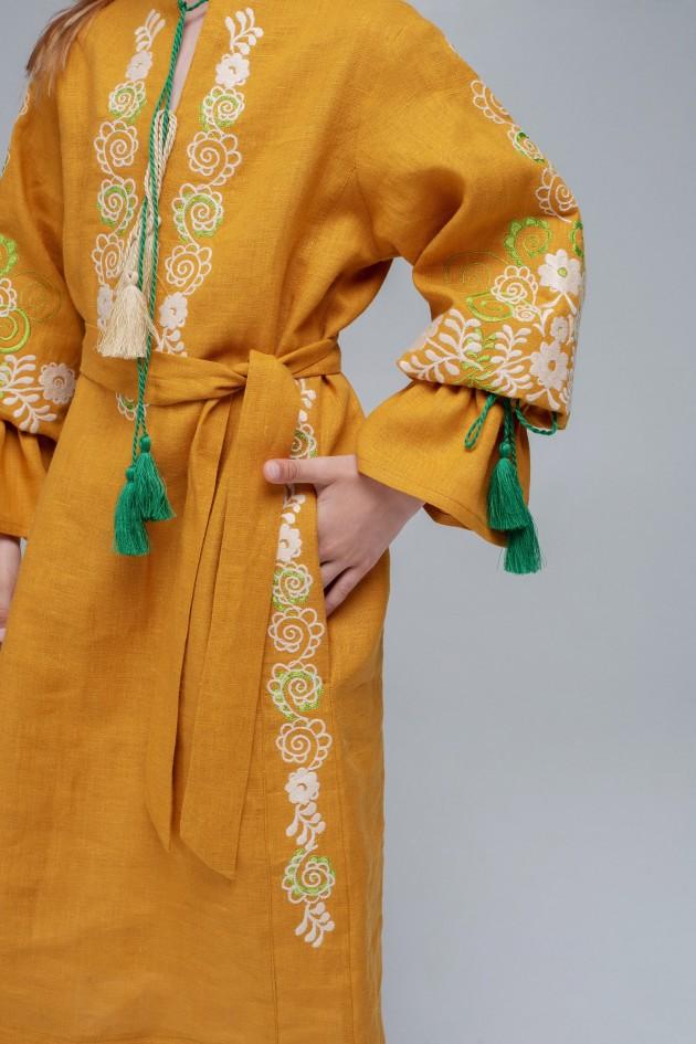 Вишита сукня для дівчинки Mustard