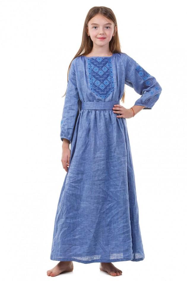 Синя дитяча вишита сукня