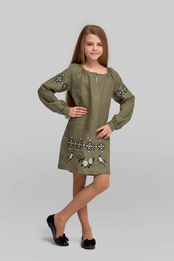 Вышитое платье вышиванка для девочки Khaki