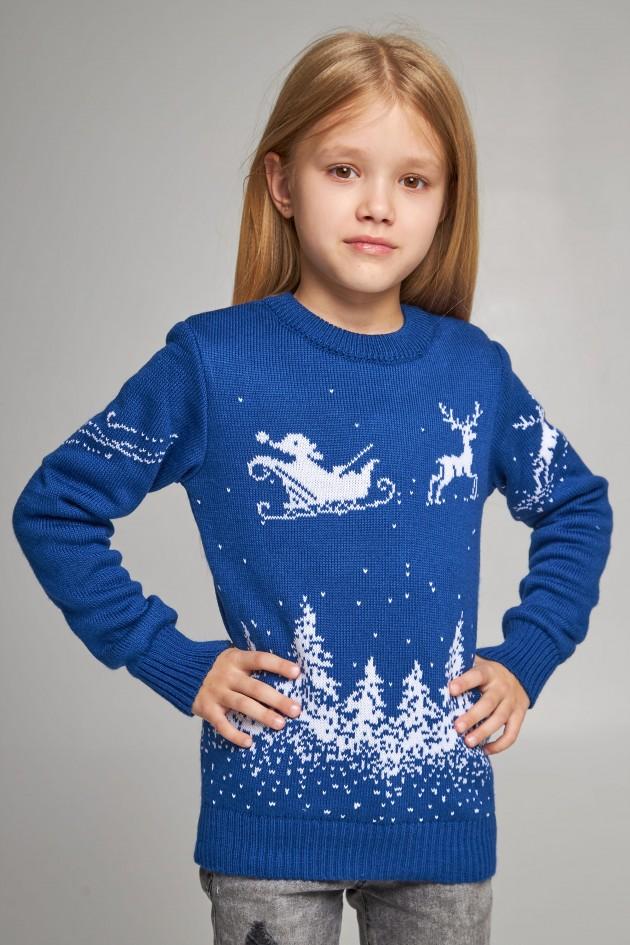 В'язаний светр для дівчинки Дід Мороз з оленями синій