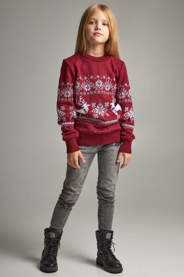 Новорічні в'язані дитячі светри для двох Дід мороз з оленями бордові