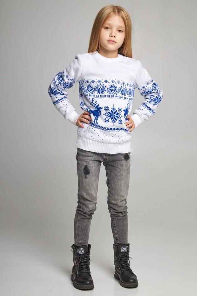 В'язаний светр для дівчинки Сніжинки з оленями