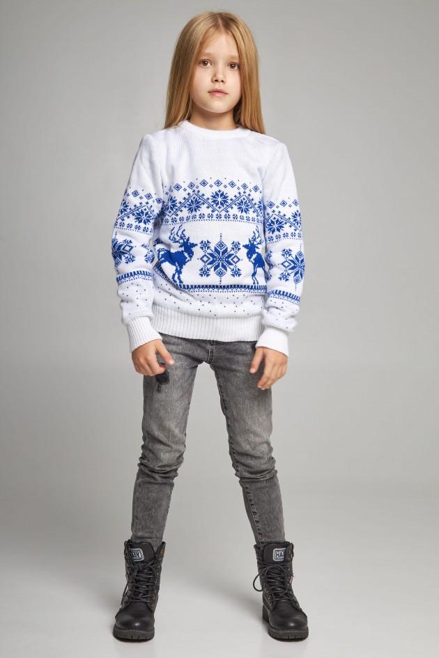 Новорічні в'язані дитячі светри для двох з Оленями білі
