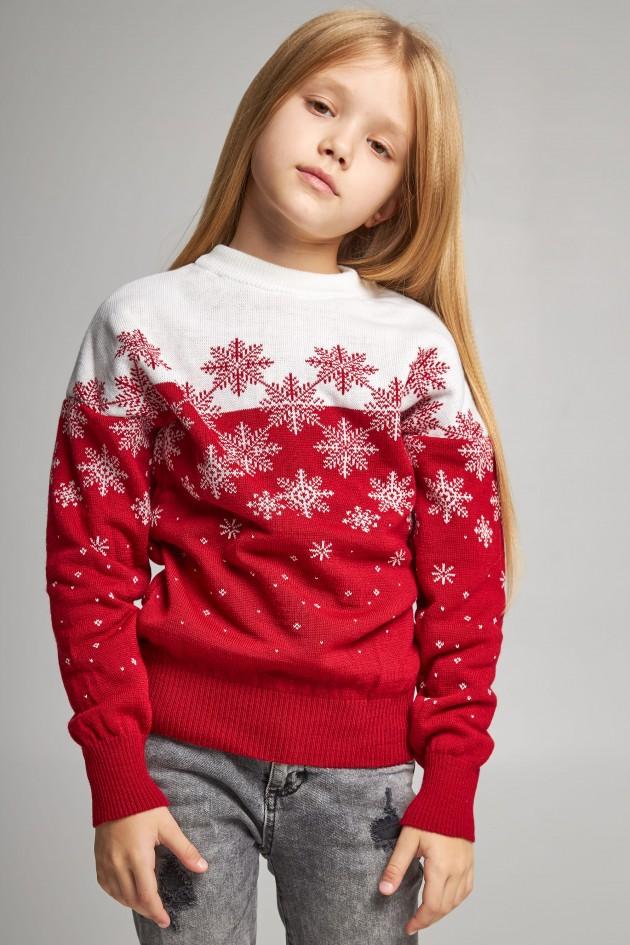 В'язаний светр для дівчинки Сніжинки червоний