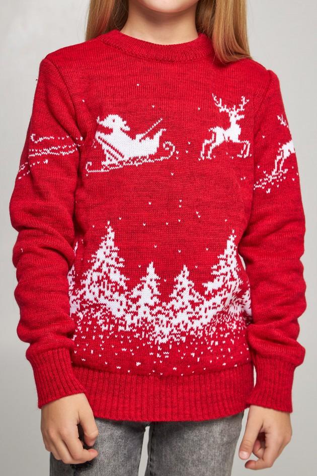 В'язаний светр для дівчинки Дід Мороз з оленями червоний