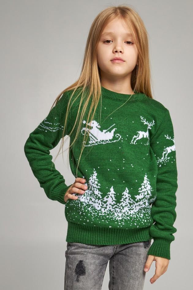В'язаний светр для дівчинки Сніжинки з оленями зелений