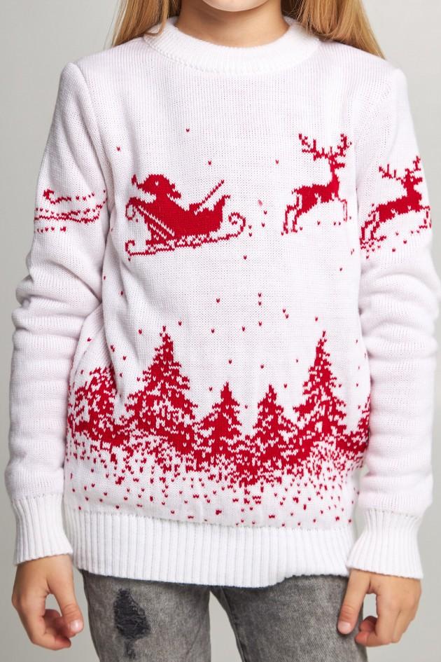 В'язаний светр для дівчинки Сніжинки з оленями білий
