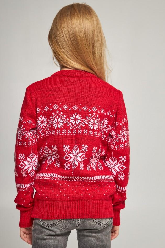 В'язаний светр для дівчинки Сніжинки з оленями червоний