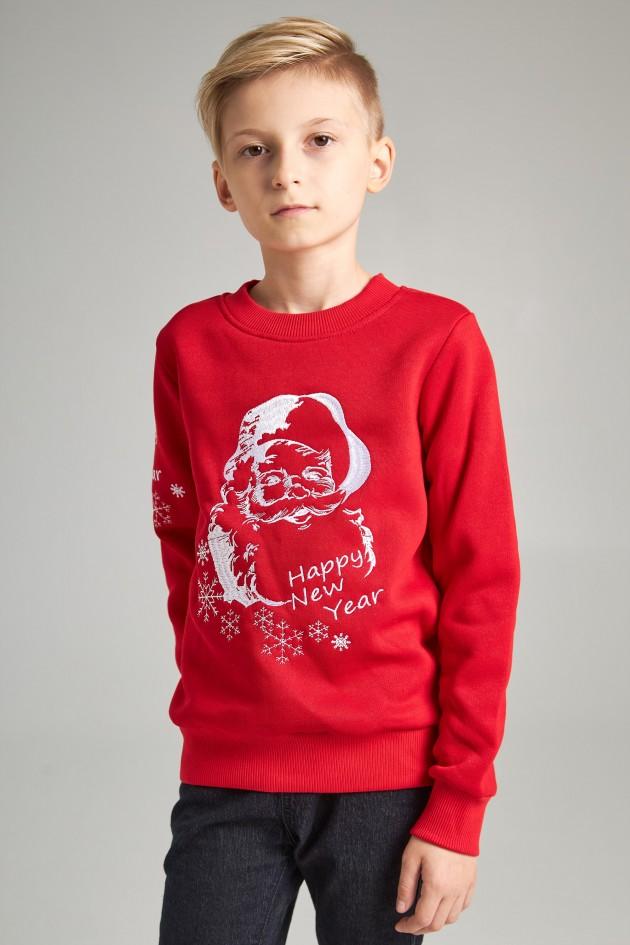 Різдвяний світшот для хлопчика Дід мороз, червоний