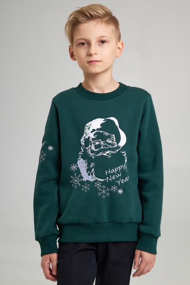 Різдвяний світшот для хлопчика Дід мороз, зелений