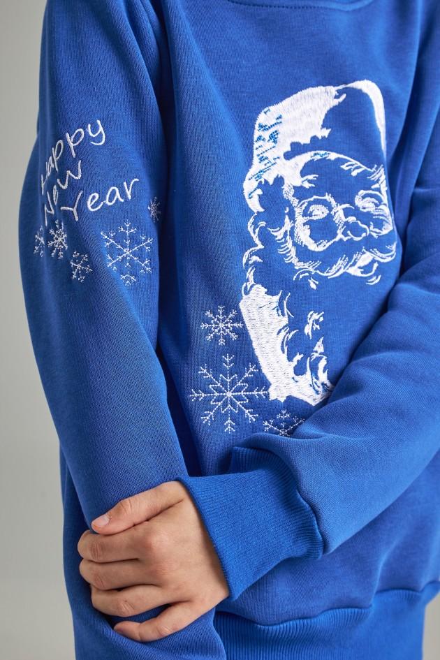 Різдвяний світшот для хлопчика Дід мороз, синій