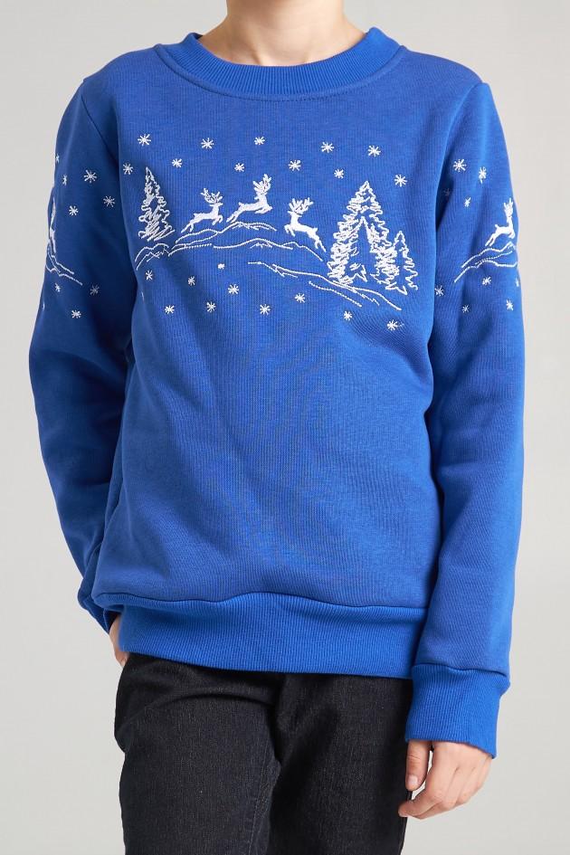 Різдвяний світшот для хлопчика Олені, електрик