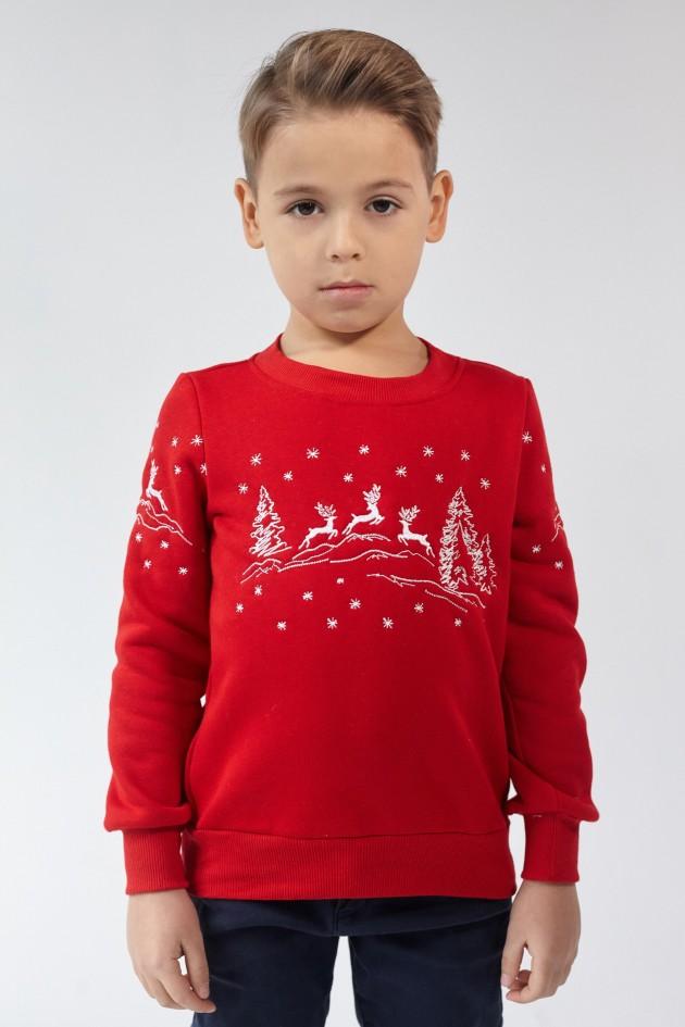 Різдвяний світшот для хлопчика Олені Red