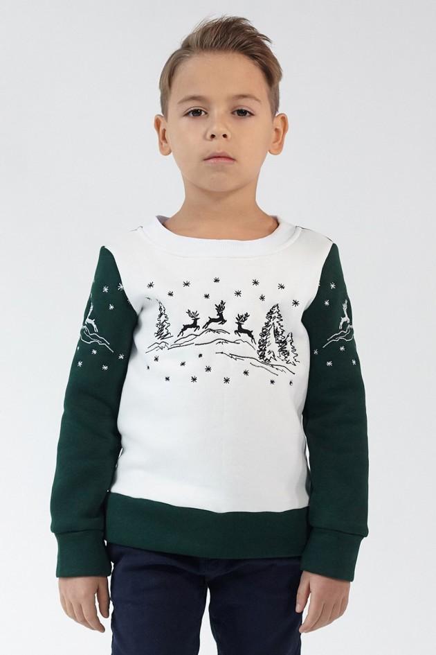 Різдвяний світшот для хлопчика Олені Green