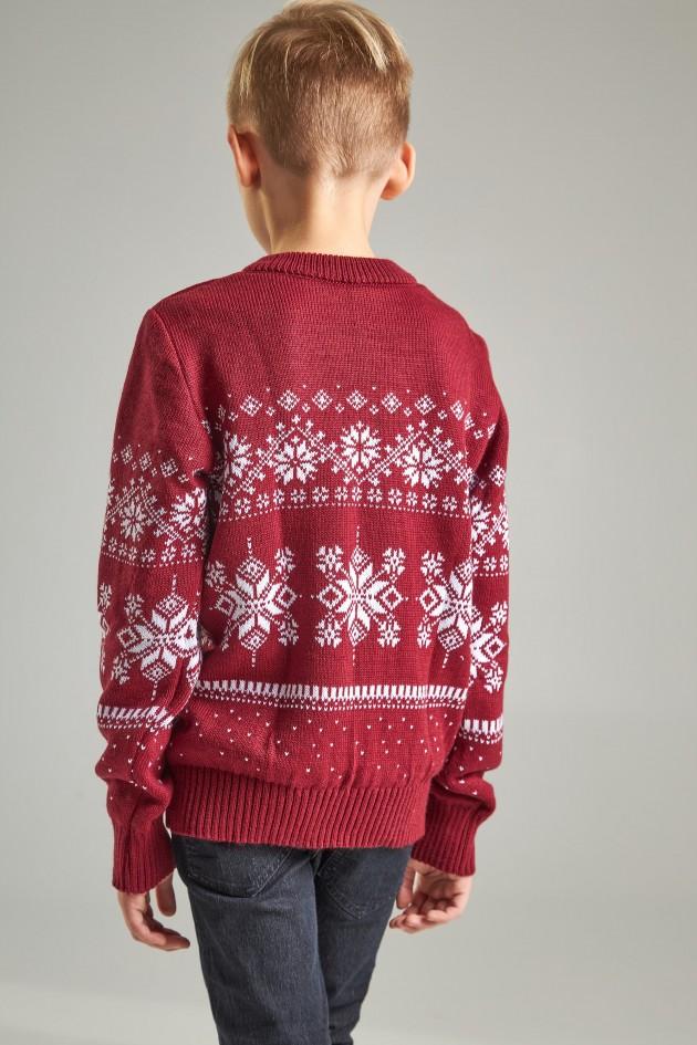 В'язаний светр для хлопчика Сніжинки з оленями бордовий