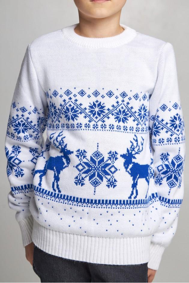 В'язаний светр для хлопчика Сніжинки з оленями білий