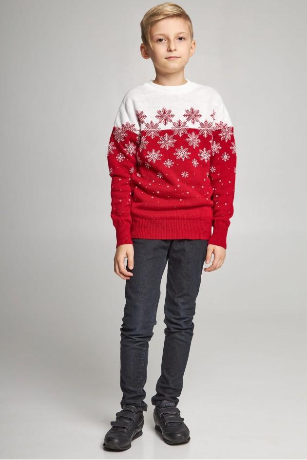 Новорічні в'язані дитячі светри для двох Сніжинки червоні
