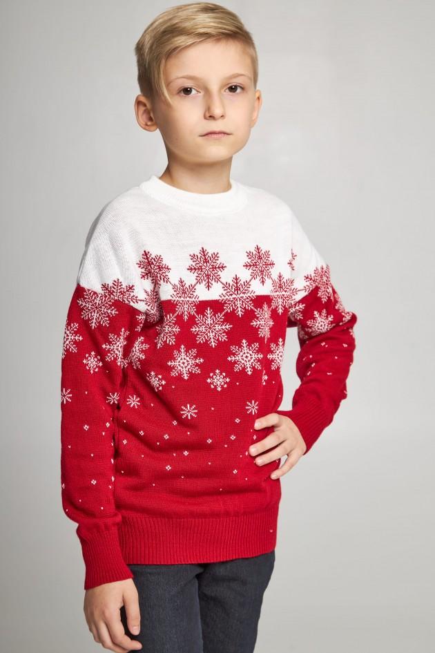 В'язаний светр для хлопчика Сніжинки червоний