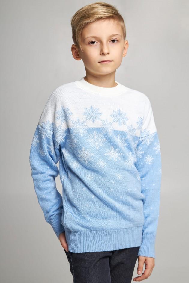 В'язаний светр для хлопчика Сніжинки блакитний