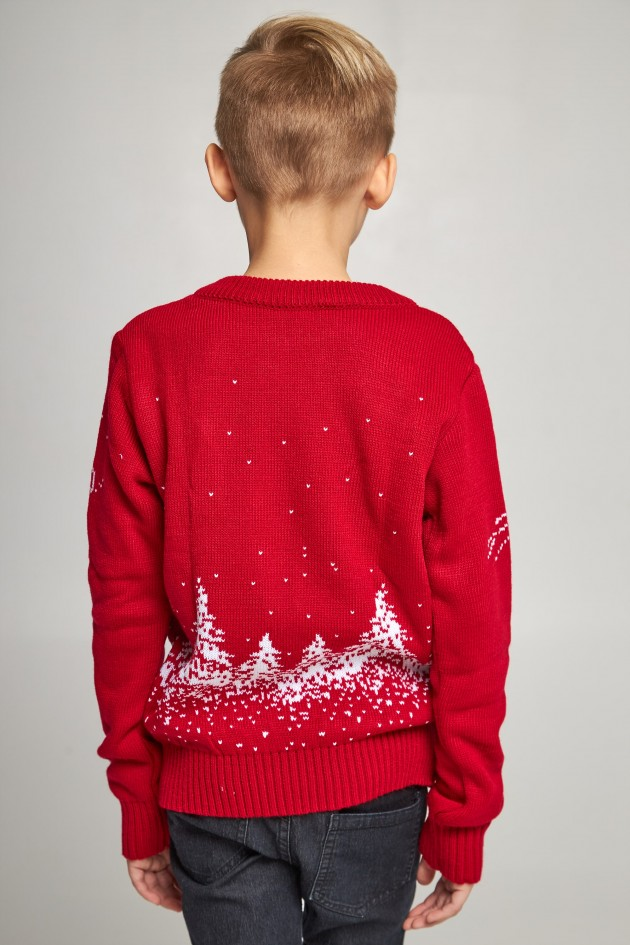 Вязаный свитер для мальчика Дед Мороз с оленями красный