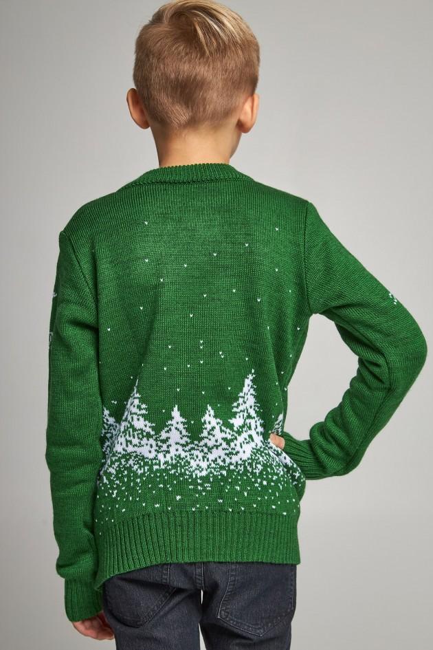 В'язаний светр для хлопчика Дід Мороз з оленями зелений