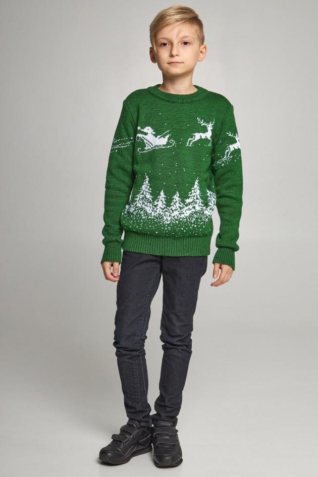 Новорічні в'язані дитячі светри для двох з Оленями зелені