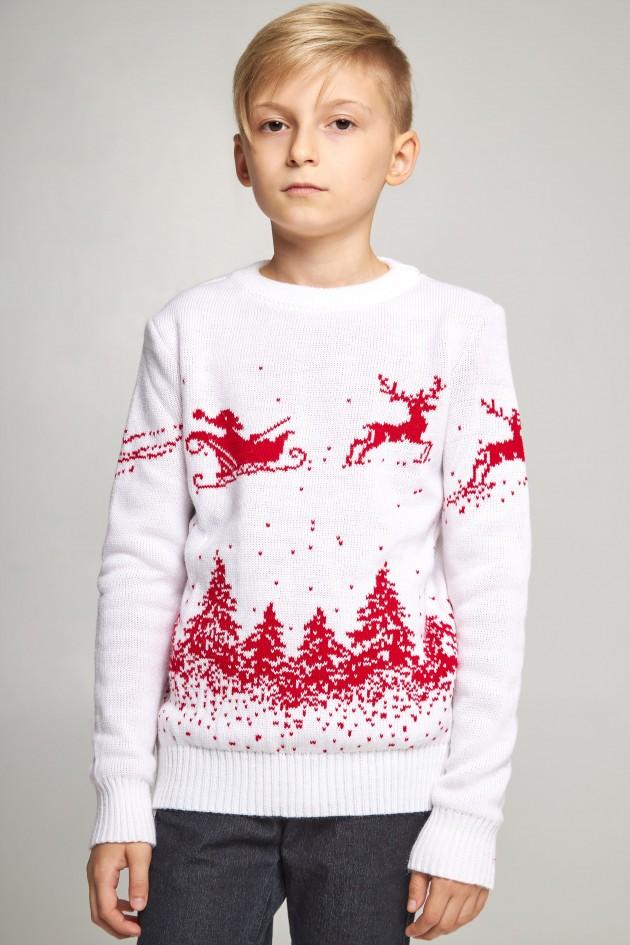 В'язаний светр для хлопчика Дід Мороз з оленями білий