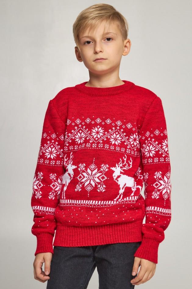 В'язаний светр для хлопчика Дід Мороз з оленями червоний