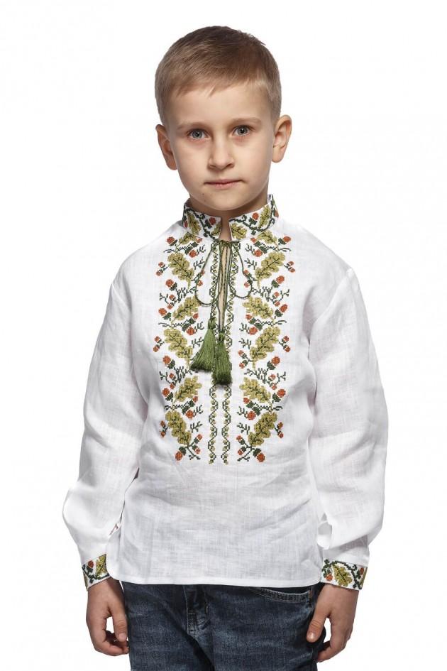 Біла вишиванка для хлопчика Дубок
