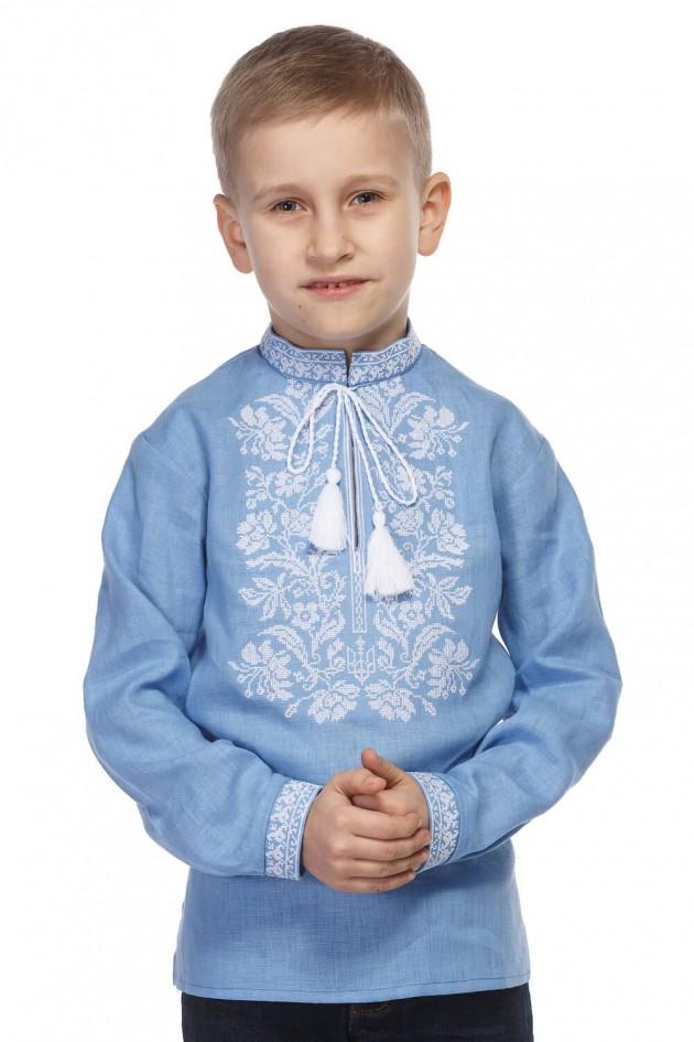 Блакитна сорочка для хлопчика з білою вишивкою