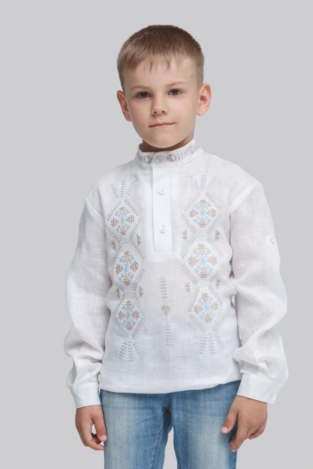 Дитяча вишиванка для хлопчика Трійця White
