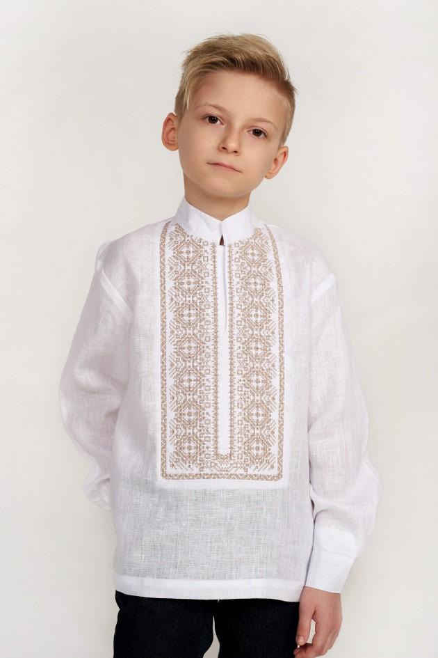 Дитяча вишиванка для хлопчика біла з бежевою вишивкою