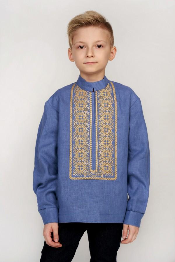 Дитяча вишиванка для хлопчика блакитна з жовтою вишивкою