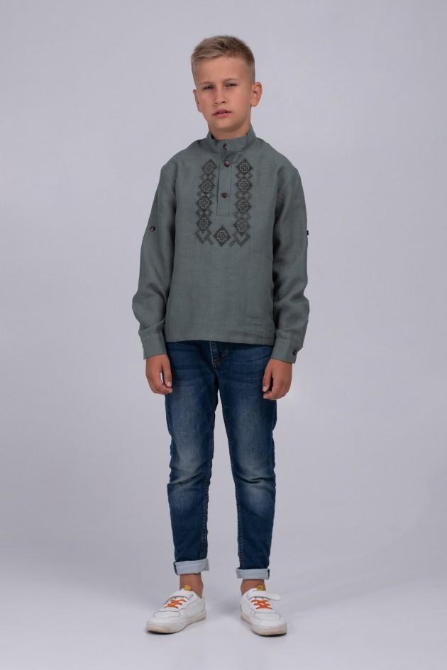 Дитяча вишиванка для хлопчика хакі