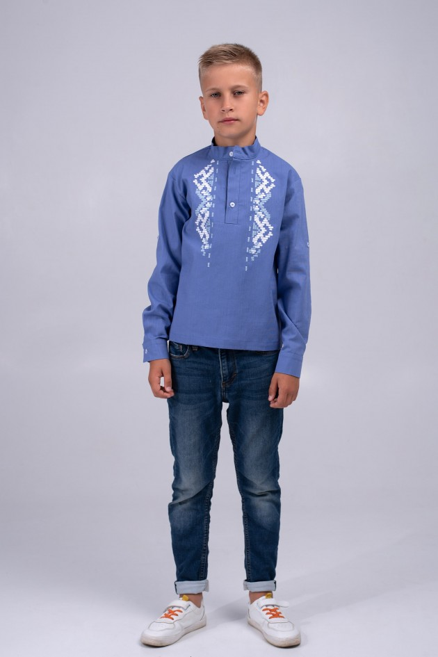 Дитяча вишиванка для хлопчика блакитна